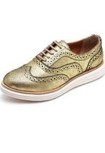 Sapato Social Top Franca Shoes Oxford Camurca Ouro