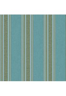 Papel De Parede Listras - Azul & Cinza - 53X1000Cm