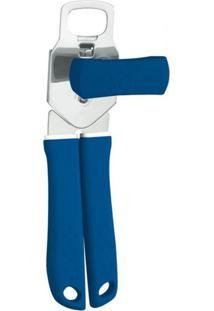 Abridor De Latas Utilita Inox E Azul 25 Cm