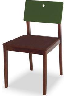 Cadeira Flip Cor Cacau Com Encosto Verde Escuro - 31135 - Sun House