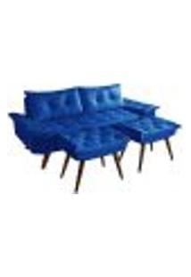 Sofa Bariloche 3 Lugares + 2 Banquetas Retro Courino Azul Marinho Couro Sintetico Essencial Estofados