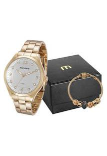 Kit De Relógio Feminino Mondaine Analógico + Pulseira - 76587Lpmvde1K1 Dourado