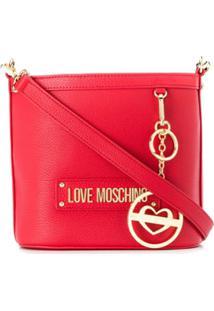 Love Moschino Bolsa Saco Com Placa De Logo - Vermelho