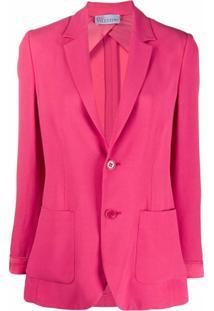 Redvalentino Blazer Com Abotoamento Simples - Rosa