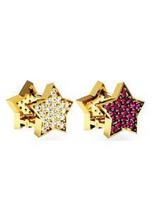 Brinco Estrela Cravejado Frente E Verso Com Brilhantes E Pedras Rubi Em Ouro 18K