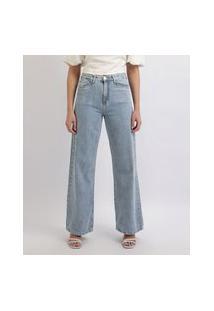 Calça Jeans Feminina Mindset Wide Reta Cintura Alta Com Bolsos Azul Médio