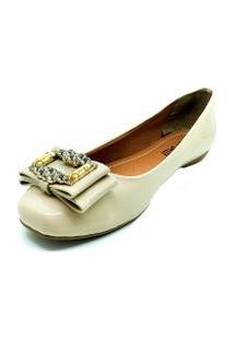 Sapatos Sapatilha Bico Quadrado Pedra Dani K Nude