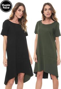 Vestido Cantão Curto Dupla Face Preto/Verde