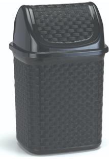 Lixeira Para Cozinha De Plã¡Stico Com Basculante 4,5 L Preto - Transparente - Dafiti