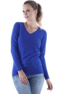 Blusa Tricô Lisa Decote V Pop Me Feminino - Feminino-Azul Royal