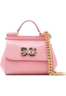 81ad54663 ... Dolce & Gabbana Bolsa Tiracolo Sicily Mini - Rosa