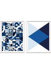 Quadro Oppen House 67X100Cm Formas Geométricas Liberté Azul Moldura Branca Com Vidro