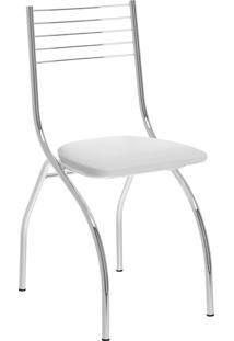 Kit 2 Cadeiras 146 Napa Cromado Móveis Carraro Branco