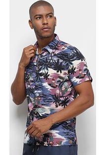 Camisa Colcci Tropical Relax Masculina - Masculino-Azul+Rosa