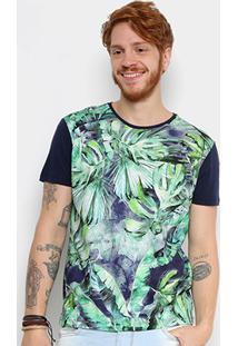 Camiseta Triton Estampada Masculina - Masculino-Azul+Verde