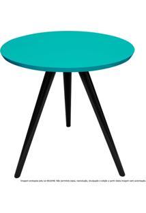 Mesa Lateral De Canto Tripé Laqueada Preta E Azul Tiffany