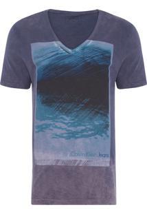 Camiseta Masculina Estampa E Lavanderia - Cinza