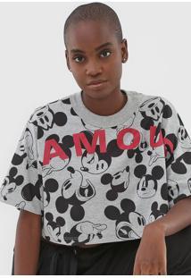 Camiseta Cropped Colcci Disney Mickey Famous Cinza