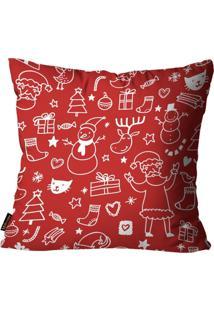 Capa Para Almofada Mdecore Natal Boneco De Neve Vermelha 45X45Cm