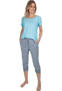 Pijama Capri Com Bolso Gray Twill Azul