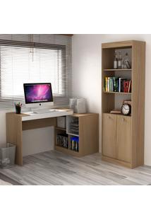 Escrivaninha E Estante Com 2 Portas Para Escritório-Ho-2960-Hecol - Avela / Branco
