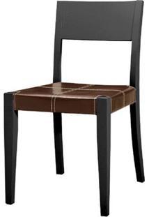 Cadeira Nigella Fixa Carvalho Preto C/Couro Marrom - 22999 - Sun House