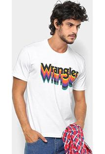 Camiseta Wrangler Estampa Arco-Íris Masculina - Masculino-Branco