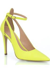 Scarpin Salto Alto Amarelo Neon