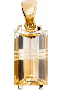 Pingente Art Ouro Sonho De Ouro 18K Com Citrino Retangular Bicolor Amarelo