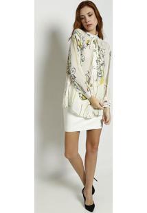 2b81f2bd15 Camisa Arabescos Seda feminina. Camisa Em Seda Com Trançados - Off White   Verdeversace  Collection