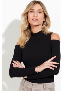 Body Feminino Em Malha Texturizada Com Gola Alta E Modelagem Open Shoulder