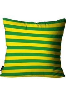 Capa Para Almofada Mdecore Listrada Brasil Colorida 45X45Cm