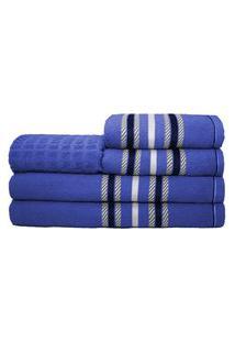 Jogo De Banho Stella 5 Peças 100% Algodáo Azul