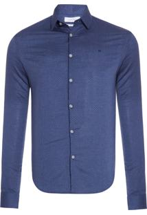 Camisa Masculina Slim Canne - Azul