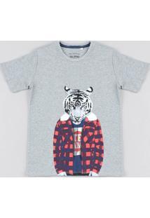 Camiseta Infantil Tigre Manga Curta Gola Careca Cinza Mescla