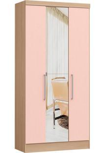 Modulo Com 3 Portas E 2 Gavetas C/ Espelho Infinity 3830A-Castro Móveis - Nogueira / Rosa Blush