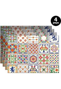 Kit 4Pçs Jogo Americano Mdecor Azuleijo Branco