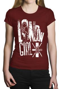 Camiseta Baby Look Hshop London Girl Vinho