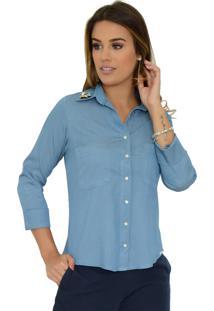 Camisa Mamorena Jeans Broche Gola Azul Claro