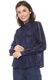 Camisa Lily Fashion Franja Azul-Marinho