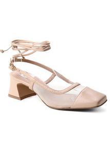 Scarpin Couro Shoestock Bico Quadrado Tela Salto Bloco Médio - Feminino