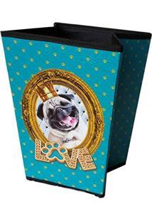 Lixeira Dog Pug Azul Em Madeira - 29X22 Cm