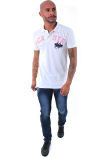 Camisa Polo Rockstar Cavalo Jogo Branca