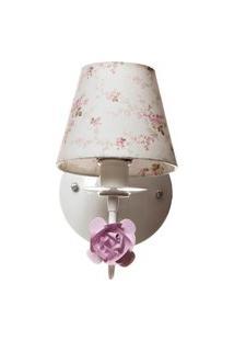 Arandela 1 Lâmpada Flor Quarto Bebê Infantil Menina Potinho De Mel Rosa