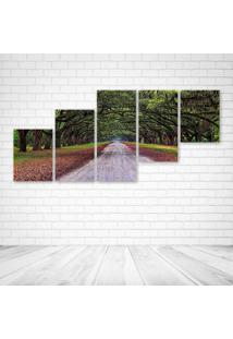 Quadro Decorativo - Autumn Road Trees Landscape - Composto De 5 Quadros