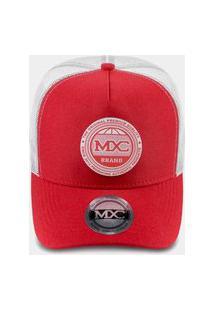 Boné Mxc Brasil Aba Curva Snapback Ajustável Premium Quality Trucker Redinha Telinha Vermelho/Cinza