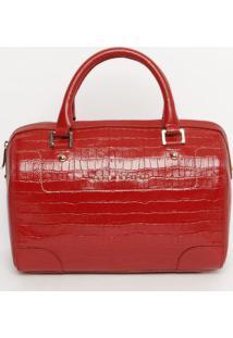 Bolsa Em Couro Com Recorte - Vermelha- 24X33X10,5Cmjorge Bischoff