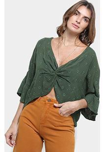 Blusa Cropped Cantão Bordada Nó Feminina - Feminino-Verde Limão