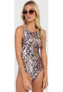 Body Acqua By Classic Animal Print Bege/Marrom - Bege - Feminino - Poliamida - Dafiti