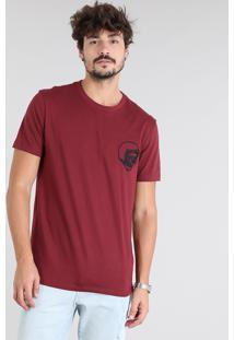 Camiseta Masculina Com Bordado De Caveira Manga Curta Gola Careca Vinho